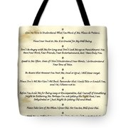 The 10 Commandments  For Pets  Antique Marble Tote Bag