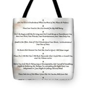 The 10 Commandments For Pets On Red Marble Tote Bag