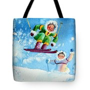 The Aerial Skier - 10 Tote Bag by Hanne Lore Koehler