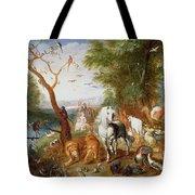 The Animals Entering Noahs Ark Panel Tote Bag