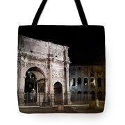 The Arch Of Constantine And The Colosseum At Night Tote Bag