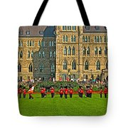 The Band Played On In Front Of Parliament Building In Ottawa-on Tote Bag