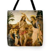 The Baptism Of Christ By John The Baptist Tote Bag by Leonardo da Vinci