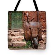 Rusty Wheelbarrow And Green Door Tote Bag