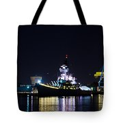 The Battleship New Jersey At Night Tote Bag