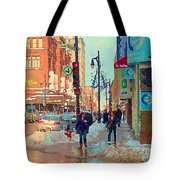 The Bay Department Store Downtown Montreal University And St Catherine Winter City Scene C Spandau  Tote Bag