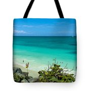 The Beach At The Tulum Ruins Tote Bag