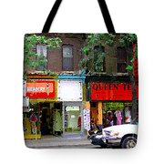 The Beadery Craft Shop  Queen Textiles Fabric Store Downtown Toronto City Scene Paintings Cspandau  Tote Bag