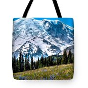 The Beautiful Mount Rainier At Sunrise Park Tote Bag