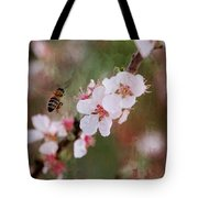 The Bee In The Cherry Tree Tote Bag