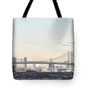 The Ben Franklin Bridge From Penn Treaty Park Tote Bag