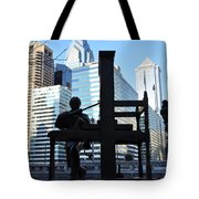 The Ben Franklin Printing Press Statue Tote Bag