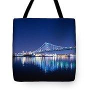 The Benjamin Franklin Bridge At Night Tote Bag
