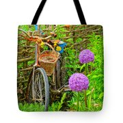 The Bike In The Garden Tote Bag