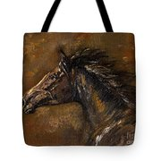 The Black Horse Oil Painting Tote Bag