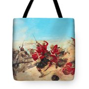 The Black Watch At The Battle Tote Bag by Henri-Louis Dupray