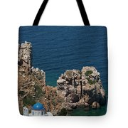 The Blue Domed Church At The Water S Tote Bag
