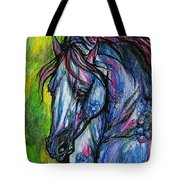 The Blue Horse On Green Background Tote Bag