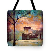 The Boat In Winter Tote Bag