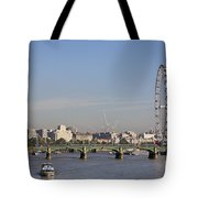 The British Airways London Eye And Westminster Bridge In London England Tote Bag