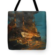 The Burning Of A Turkish Frigate Tote Bag