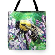 The Busy Bee And The Lilac Tree Tote Bag