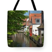 The Canal In The Downtown Of Bruges  Tote Bag
