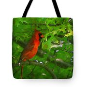 The Cardinal 2 Painterly Tote Bag