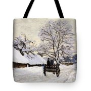 The Carriage- The Road To Honfleur Under Snow Tote Bag