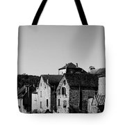The Castle Above The Village Panorama In Black Nd White Tote Bag