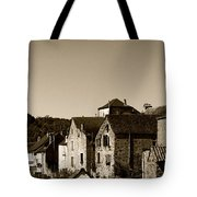 The Castle Above The Village Panorama In Sepia Tote Bag