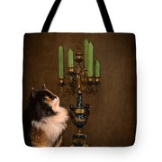 The Cat And The Candelabra Tote Bag