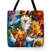 The Cat And The Guitar Tote Bag