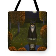 The Cat And The Moon Tote Bag
