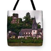 The Church And Heimburg In Niederheimsbach Am Rhein Tote Bag