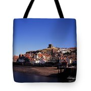 The Church Of St Mary's And Whitby Abbey North Yorkshire England Tote Bag
