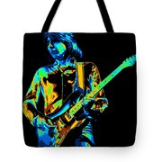 The Colorful Sound Of Mick Playing Guitar Tote Bag