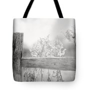 The Country Fence In Black And White Tote Bag