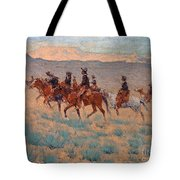 The Cowpunchers Tote Bag by Frederic Remington
