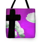The Cross On Purple Tote Bag