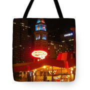 The Daniels And  Fisher Tower At Night Tote Bag