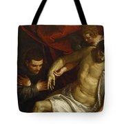 The Dead Christ Supported By An Angel And Adored By A Franciscan Tote Bag
