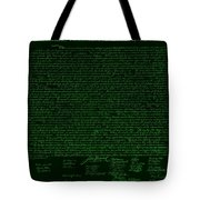 The Declaration Of Independence In Negative Green Tote Bag by Rob Hans