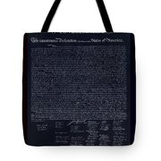 The Declaration Of Independence In Negative Red White And Blue Tote Bag
