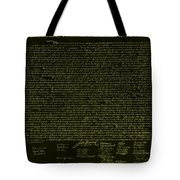 The Declaration Of Independence In Negative Yellow Tote Bag