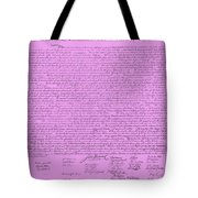 The Declaration Of Independence In Pink Tote Bag