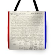 The Declaration Of Independence In Red White And Blue Tote Bag by Rob Hans