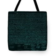 The Declaration Of Independence In Turquoise Tote Bag