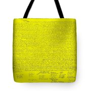 The Declaration Of Independence In Yellow Tote Bag