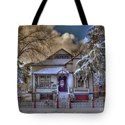 The Decorated Little House In The Snow Tote Bag